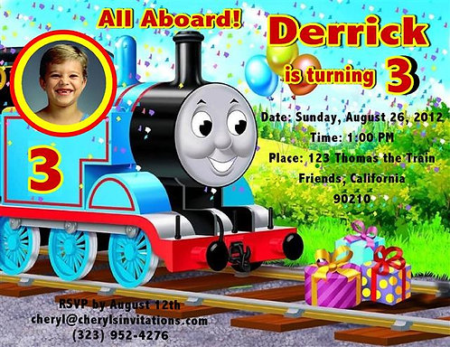 Thomas the Train Birthday Party Keepsake Bottle Invitation