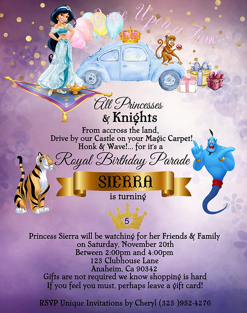 Princess Jasmine's  Drive-By Birthday Party Invitation (sold in set of 10)