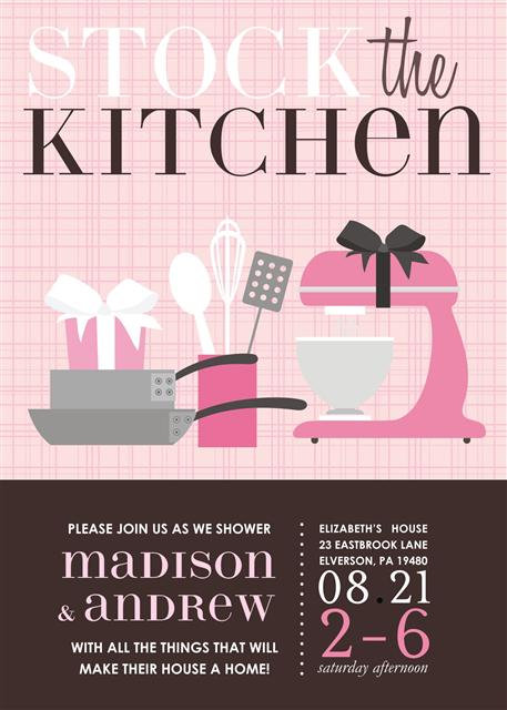 Pink Kitchen Bridal Shower Bridal Shower and  Event Invitation