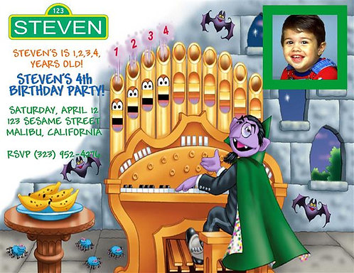 Sesame Street The Count Birthday Party Invitation