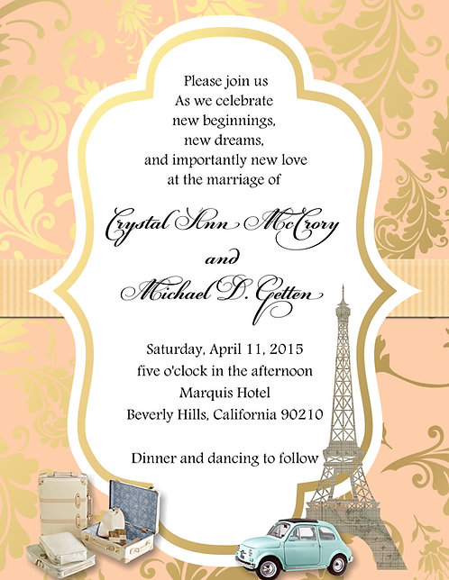 Paris Gold Coral Wedding / Event Invitation