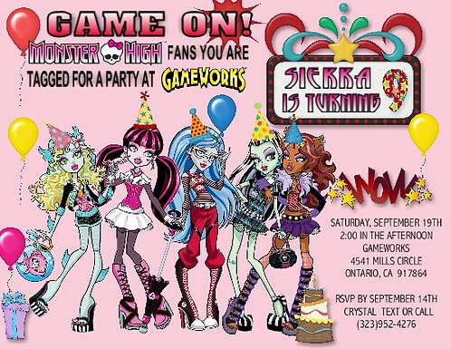 Monster High Game Birthday Party Invitation