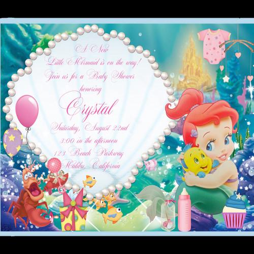 Girl baby shower invitations eventsunique invitations by cheryl little mermaid baby shower invitation filmwisefo