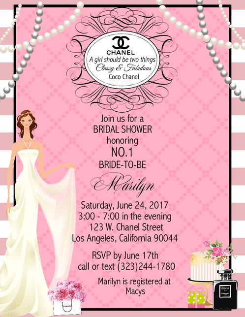 Chanel bridal shower party and event invitation filmwisefo