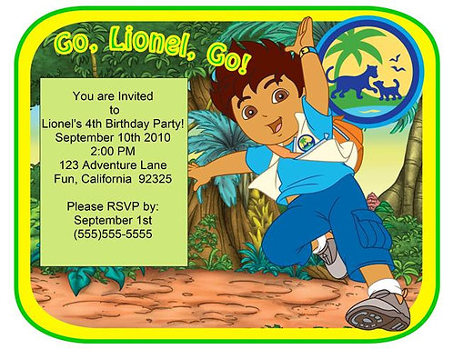 Diego Jumping Birthday Party Invitation