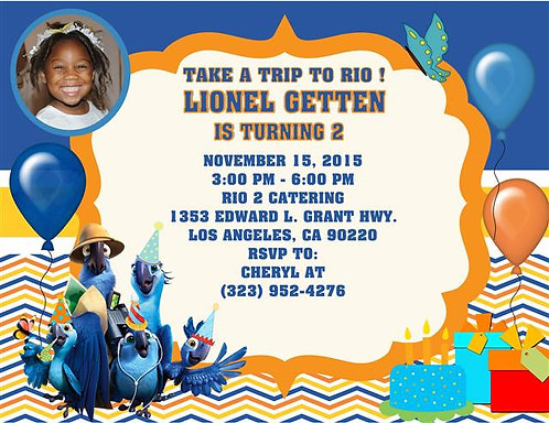 Ticket 2 Rio Trip Girl Birthday Party Invitation