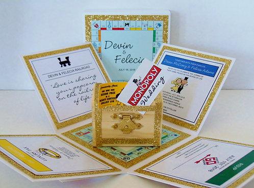 Monopoly Wedding Custom Exploding Box Event Invitation