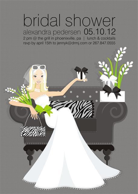 Zebra Blonde Bride Bridal Shower and  Event Invitation