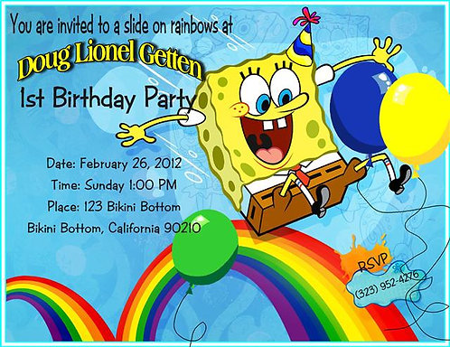 #2 Spongebob Birthday Party Invitation
