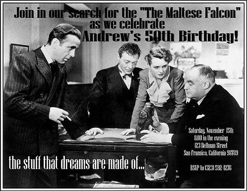 Maltese Falcon Birthday Party and  Event Invitation