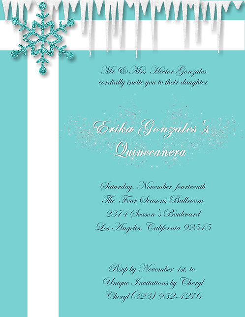 Tiffany Frozen Quinceanera, Party and  Event Invitation