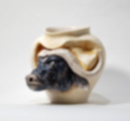 ceramic vase, vase with a sculpture, animal sculptures, clay art, ceramic animals, pottery sculpture, natural art, African buffalo.