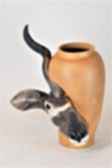 ceramic vase, vase with a sculpture, animal sculptures, clay art, ceramic animals, pottery sculpture, natural art, kudu, antelope