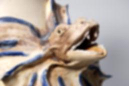 ceramic vase, vase with sculpture, animal sculptures, clay art, ceramic animals, pottery sculpture, natural art, Frilled Lizard, lizard art