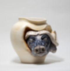 buffalo, african buffalo ,buffalo art , ceramic buffalo , buffalo vase , ceramic art ,pottery art , ceramic unique vase , animals sculpture , buffalo sculpture
