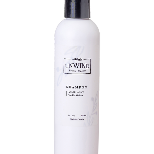 UNWIND Natural and Organic  Vanilla SkyShampoo (Vanilla Vetiver) 8oz/250ml