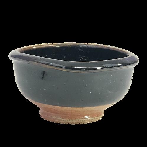 Squared Tenmoku Glaze Soup Bowl