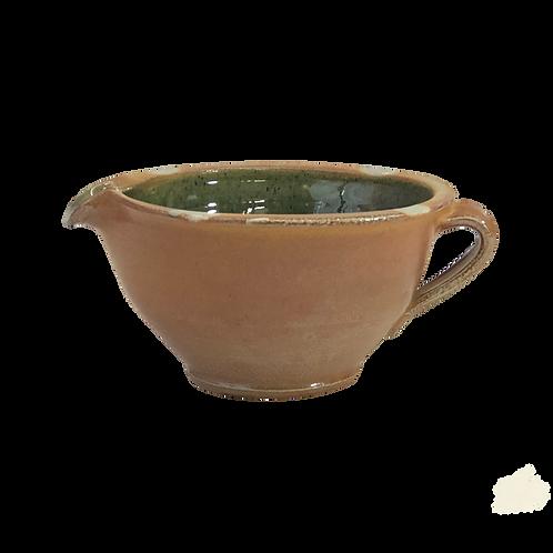 1 Qt. Batter Bowl, Soda Glazed with Copper Green Glazed Interior