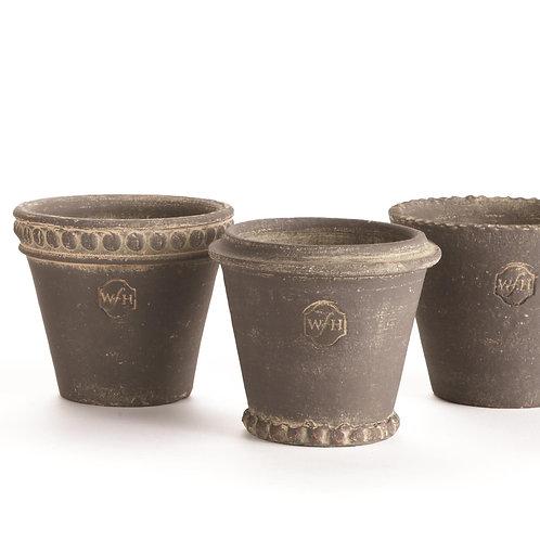 Wakefield Handmade Mini Pots, Assorted Set of 6, Slate Gray Finish