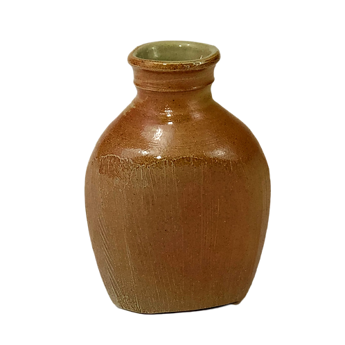 Soda Fired Flask Vase with Rasped Surface