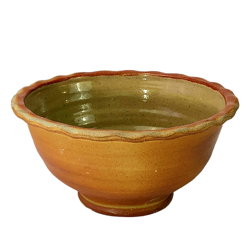 Large Kitchen Bowl with Scalloped Rim, Soda-Fired with Celadon Glazed Interior