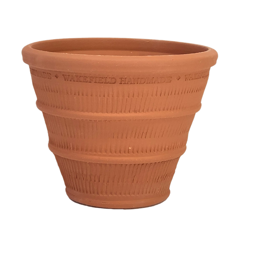 #12 Reeded Basket Pot, Red Terracotta