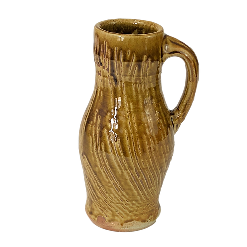 Amber Glazed Baluster Style Pitcher, Soda-Fired, with Combing Decoration