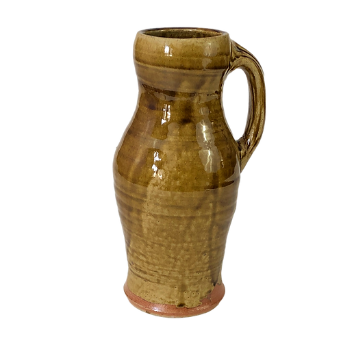 Amber Glazed Baluster Style Pitcher, Soda-Fired