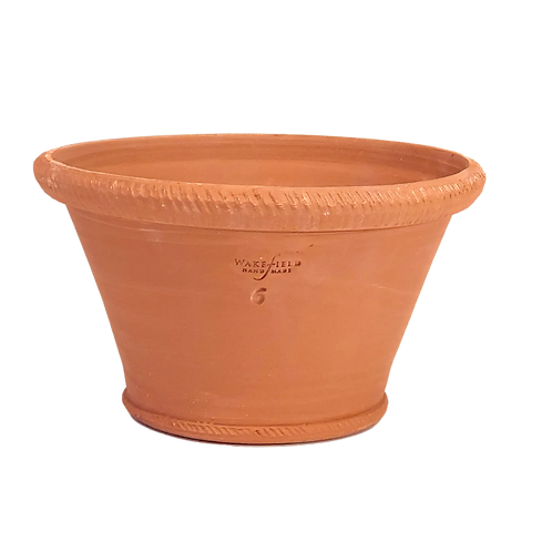 #6 Ornamented Rim Half Pot, Red Terracotta