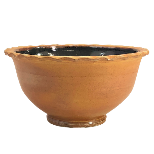 Large Kitchen Bowl with Scalloped Rim, Soda-Fired with Tenmoku Glazed Interior