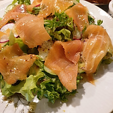 Home smoked salmon salad