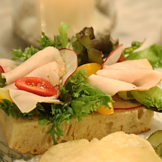 Turkey and foie gras cube open face sandwich