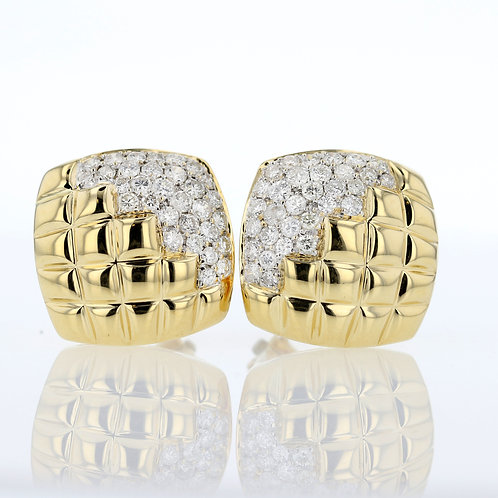 2 Carat Square Grid Diamond Accented Earrings