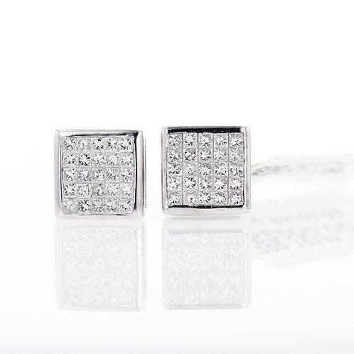 1 Carat Square Grid Diamond Studs
