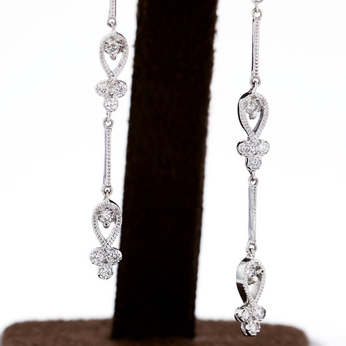 0.48 Carat Milgrain Three Diamond Double Drop Earrings
