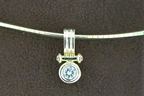0.40 Carat Gold Bar Round Diamond Pendant