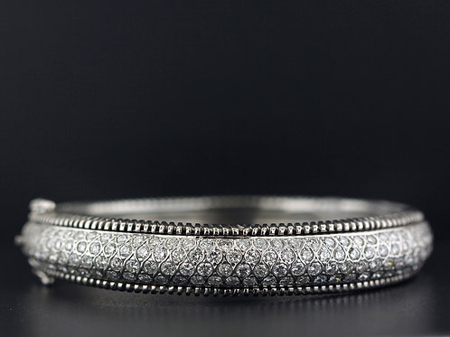 3 Carat Large Milgrain Diamond Bangle