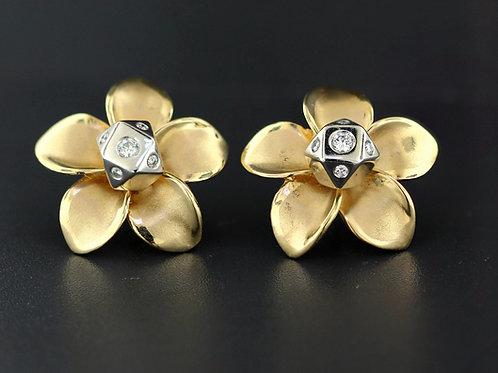 0.40 Carat Five Diamond Flower Petal Earrings