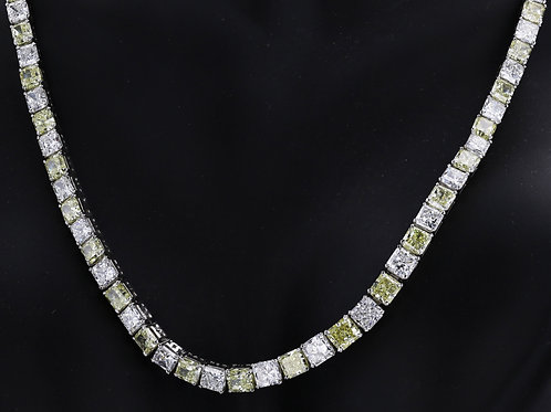 40 Carat Princess Cut Riviera Diamond Necklace