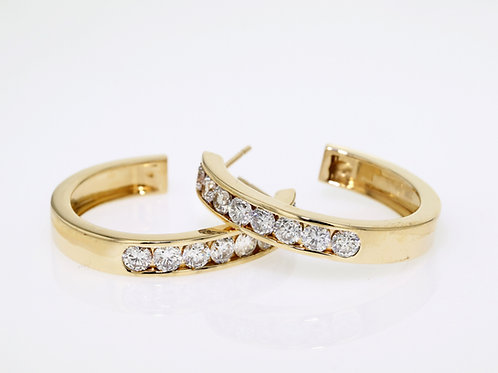 2 Carat Channel Set Single Row Diamond Huggies