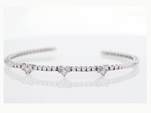 1 Carat Three Heart Cluster Diamond Cuff Bracelet