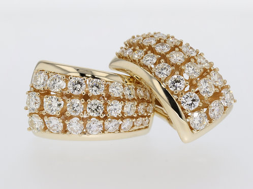 3 Carat Triple Row Diamond Huggies