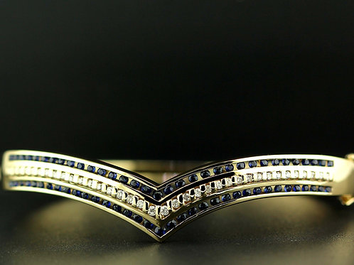 0.68 Carat Triple Row Diamond & Sapphire Bangle