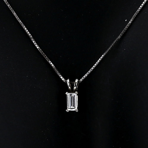 0.21 Carat Emerald Cut Diamond Pendant