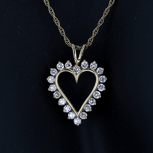 1 Carat Gold Heart Diamond Halo Pendant