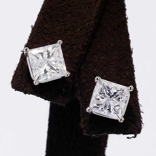3 Carat Princess Cut Diamond Studs