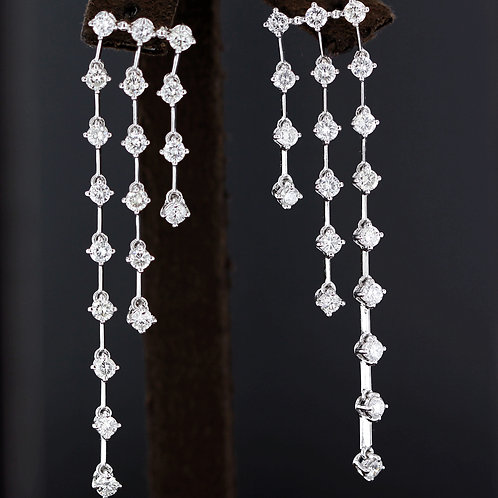 3 Carat Cascade Dangle Diamond Chain Earrings