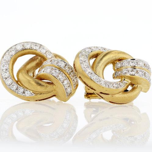 2 Carat Assymetrical Diamond Loop Earrings