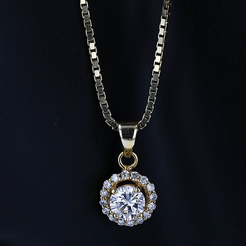 0.75 Carat Round Cut Diamond Pendant with Halo