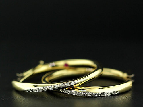 0.25 Carat Tapered Diamond Accented Hoops